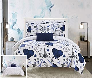 Chic Home Le Marias 9 Piece Reversible Comforter Paris is Love Inspired Printed Design Bed in a Bag-Sheet Set Decorative Pillows Shams Included Size, Full, Navy