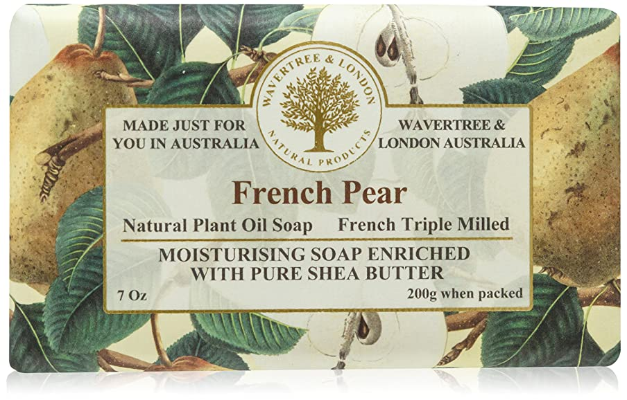 写真を描くで出来ている木材Bela プレミアム包まれた固形石鹸、フランス語梨、200グラム 1バー