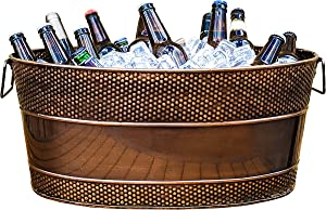 BREKX Aspen Galvanized Copper-Finish Metal Ice and Drink Bucket, Beverage Tub for Parties, 25-Quart