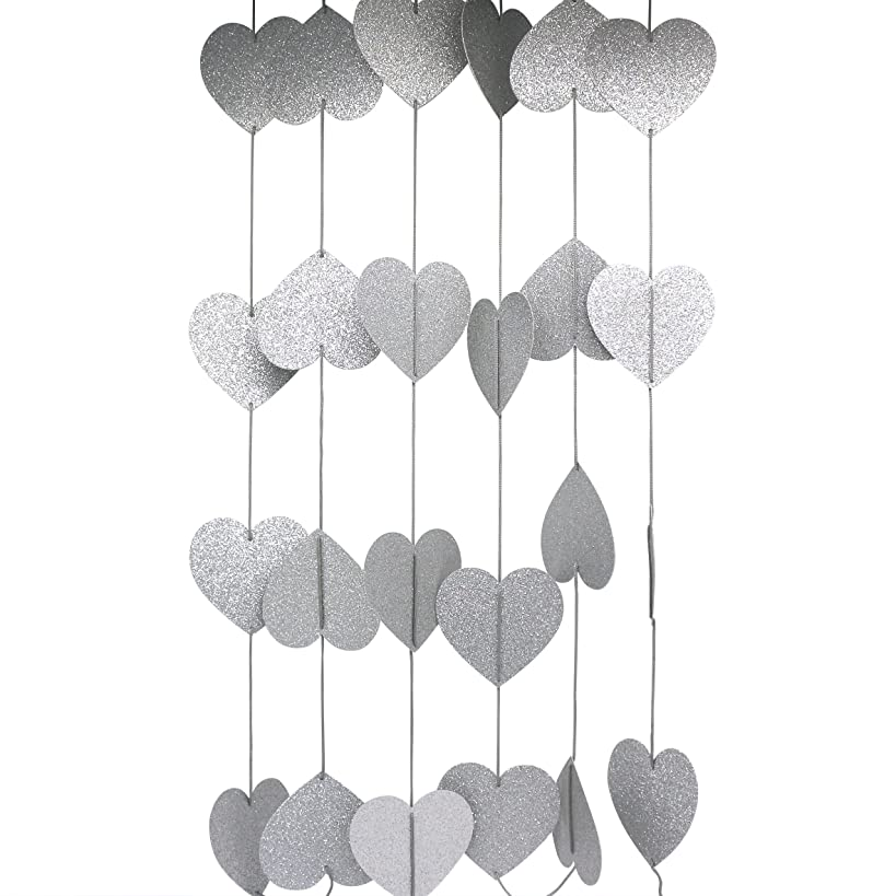 CVHOMEDECO. Glittered Paper Heart Shape String Garland Hanging Décor for Wedding Birthday Party Festival Home Background Decorative, 8.2 feet, Pack of 2 PCS (Silver)
