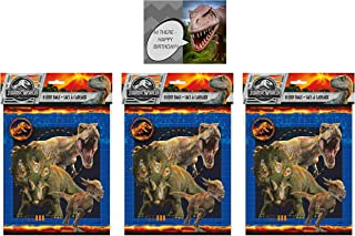Jurassic World Favor Loot Bags - 24ct, Bundled with a Dinosaur Birthday Card