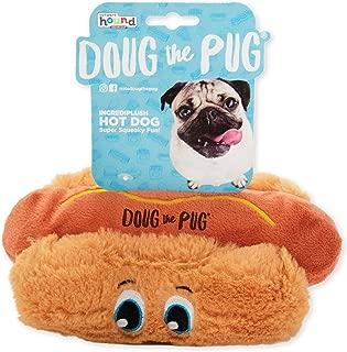 Outward Hound Doug The Pug Incrediplush Hot Dog Squeaky Plush Dog Toy
