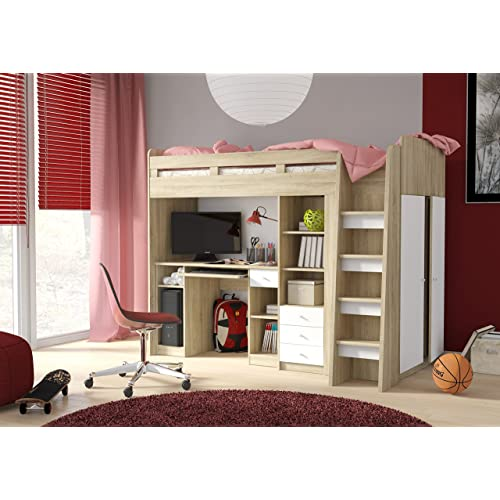 High Sleeper Bed With Desk And Wardrobe Amazon Co Uk
