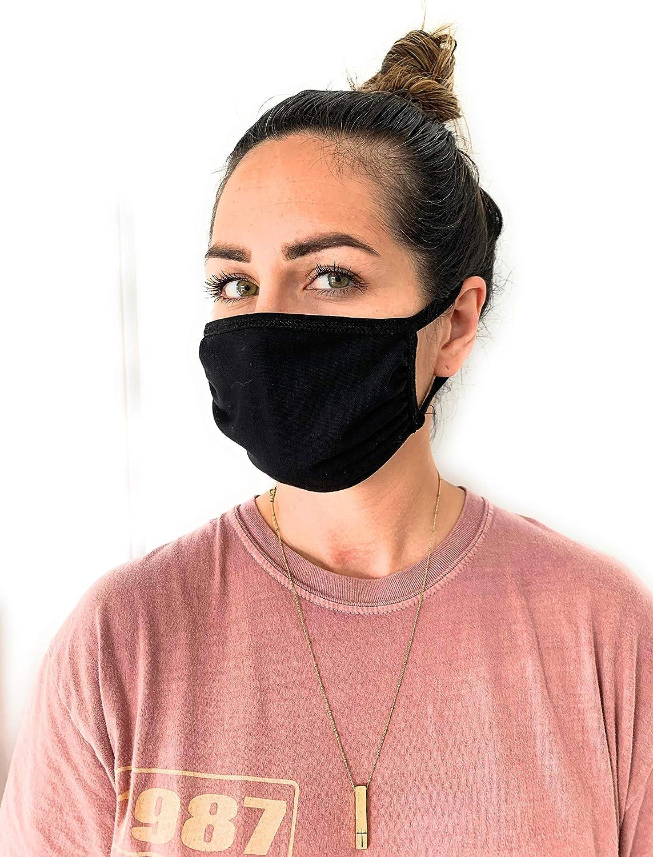UNIME Fashion Protective Face Masks, Unisex Black Dust Cotton Mouth Masks, Washable, Reusable Masks Pack of 4