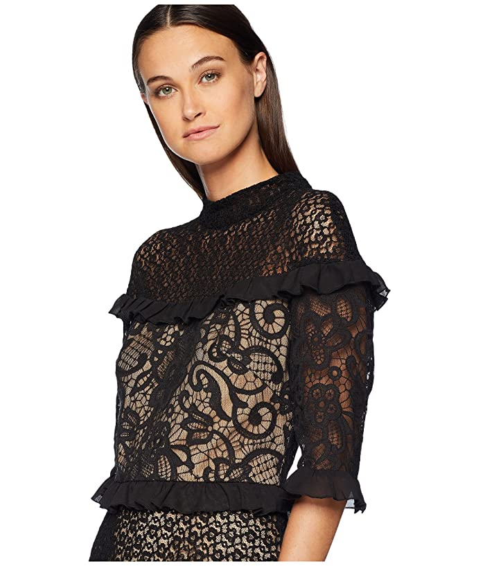ML Monique Lhuillier Short Sleeved Dress with Ruffles (Black/Nude) Women