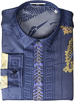 Dragon Print Silk Button Down
