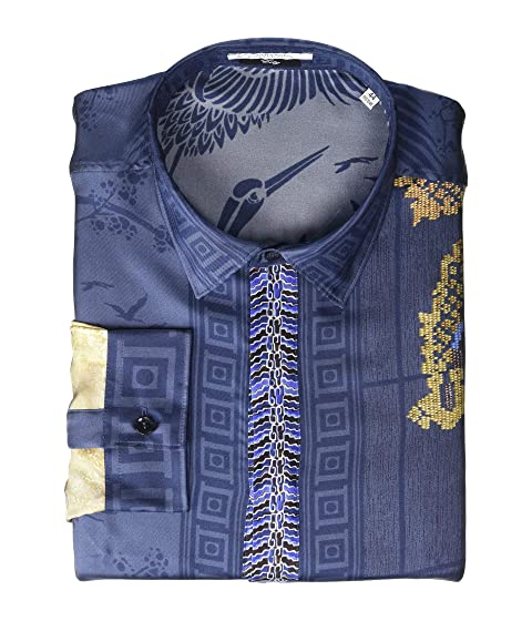 Versace Collection Dragon Print Silk Button Down