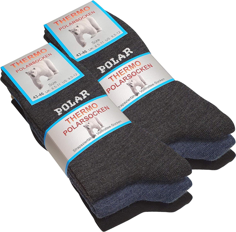 calcetines largos de invierno 6 pares de calcetines t/érmicos de rizo para hombre