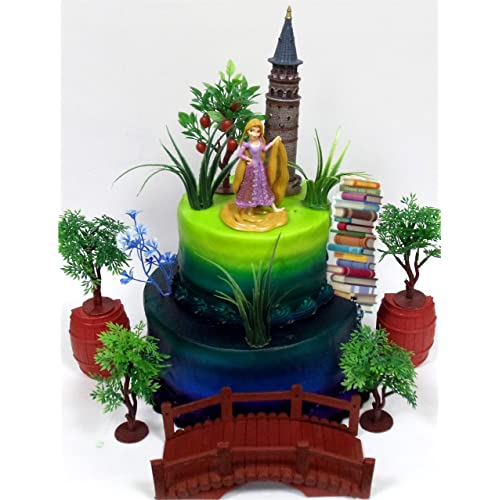 TANGLED Princess RAPUNZEL Birthday Cake Topper Featuring Rapunzel Figure And Decorative Themed Accessories