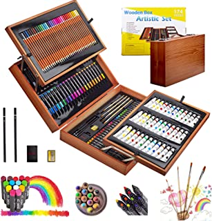 KINSPORY 174 PCS Portable Inspiration & Creativity Coloring Art Set Deluxe Painting & Drawing Supplies with Wood Box