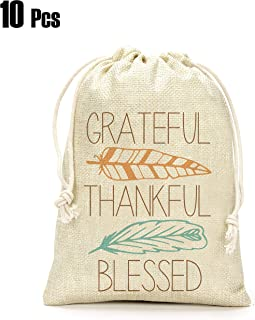 Thanksgiving Day Gifts Bags- Grateful Thankful Blessed Gift Bags, Thanksgiving Day Decoration, Holiday Supplies- Set of 10