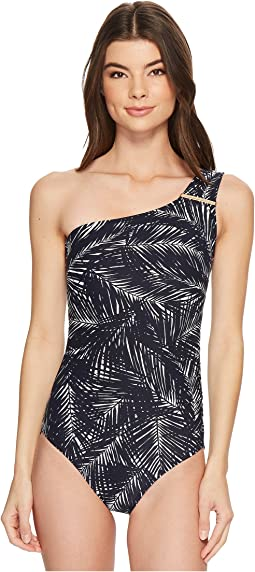 MICHAEL Michael Kors Abstract Palm Logo Bar One-Piece Swimsuit w/ Removable Soft Cups