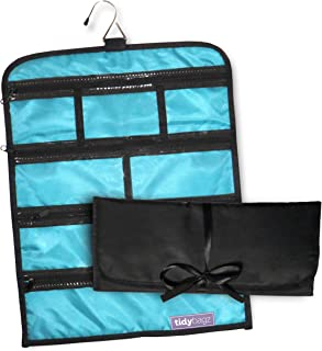 Tidybagz | Jewelry Roll Bag | Travel & Home Organizer | Safe, Elegant, Zippered Solution to Jewelry Organization | Large 7 Compartment Roll Bag