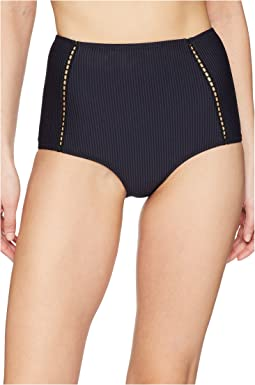 Jonathan Simkhai Seersucker High-Waist Bikini Bottoms