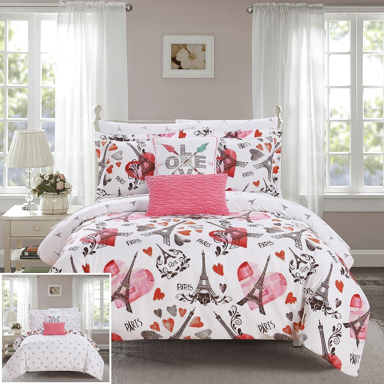 famous Chic Home Special Campaign Le Marias 9 Piece Paris I Love Reversible Comforter is