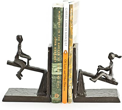 Danya B Children Playing on a See-Saw Metal Bookend Set