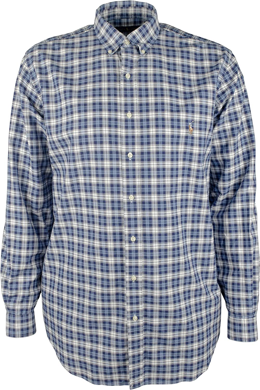 Men's Big and Tall Oxford Plaid Long Sleeves Shirt