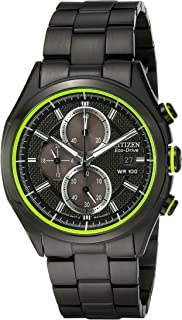 Citizen Men's Drive Eco-Drive Black Ion-Plated Strap with Green Accented Dial