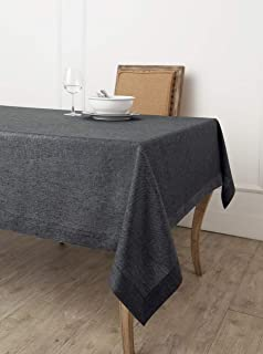 Solino Home 100% Pure Linen Tablecloth - European Flax Natural Fabric, Square Tablecloth - Athena 60 x 60 Inch Charcoal Grey