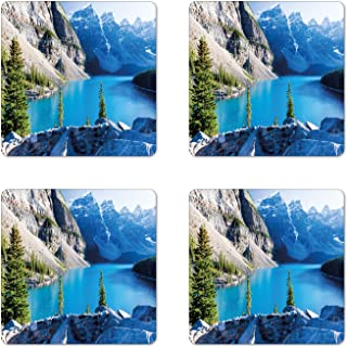 Lunarable Nature Coaster Set of 4, Moraine Lake Banff National Park Canada Mountains Pines Valley of the 10 Peaks, Square Hardboard Gloss Coasters, Standard Size, Green Grey