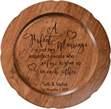 LifeSong Milestones Personalized Cherry Wood A Perfect Marriage Wedding Anniversary Plate Gift for Her, Happy Anniversary for Him, 12