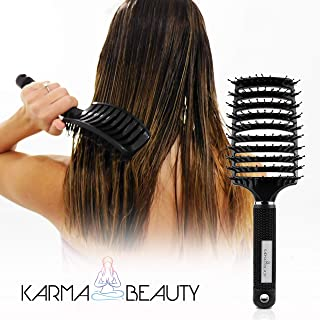 Vented Paddle Brush | Detangler and Blow Drying | Boar Bristle Brush | Use For Wet, Dry, Thin, Thick, Curly, Hair | for Adult & Kids | Professional Salon Brush | Karma Beauty | (Black)