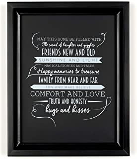 Ocean Drop Designs - 'May This Home' Quote Premium Chalkboard Style Typography Wall Art - Black Frame Included - Perfect H...