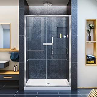 DreamLine Infinity-Z 36 in. D x 48 in. W x 74 3/4 in. H Clear Sliding Shower Door in Chrome and Center Drain White Base, DL-6975C-01CL