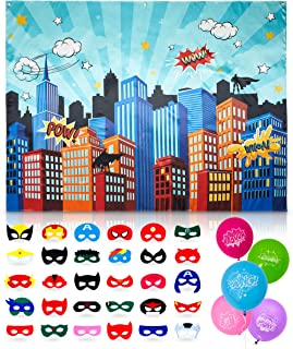 Superhero Party Supplies Pinata Props Backdrop and 30 Masks- DC Super Hero Girls and Boys Birthday Decorations Favors - 6.2 X 4.8 Feet Cityscape Photography Party City - 20 Assorted Colors Balloons