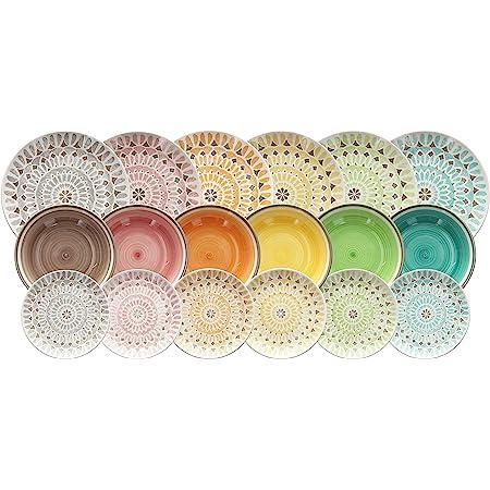 Tognana LS17018M064 Cape Town Service de table 18 pièces, céramique, multicolore