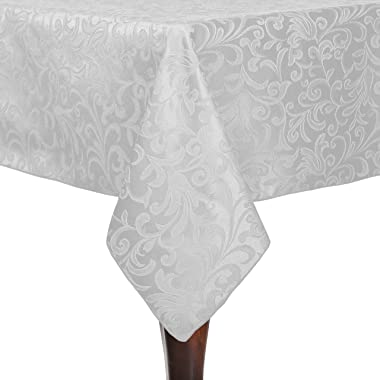 Ultimate Textile Somerset 70 x 144-Inch Rectangular Damask Tablecloth White