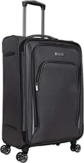 """Kenneth Cole Reaction Cloud City 24"""" Lightweight Softside Expandable 8-Wheel Spinner Checked Travel Luggage, Charcoal"""