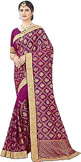 Indian Eid Party Zari & Embroidery work heavy Pallu Georgette Sari Blouse Muslim Saree 6330