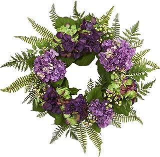 "Nearly Natural 24"" Hydrangea Berry Wreath, Purple"
