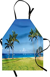 Ambesonne Hawaiian Apron, Coconut Palm Trees and Lawn on The Sandy Poipu Beach in Hawaii Kauai Picture Print, Unisex Kitchen Bib with Adjustable Neck for Cooking Gardening, Adult Size, Blue Green