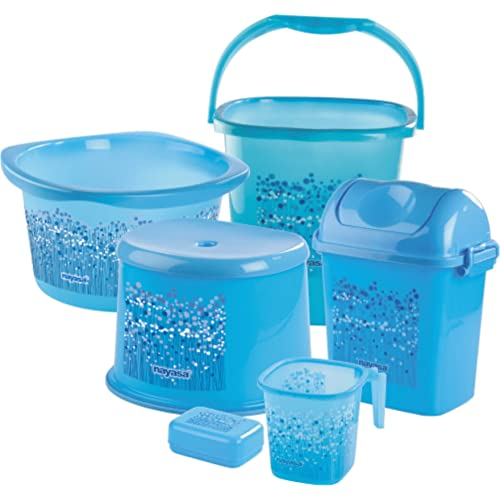 Nayasa Funk Bathroom Set Deluxe, 6 pieces, Blue