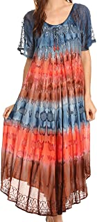 Sula Tie-Dye Wide Neck Embroidered Boho Sundress Caftan Cover Up