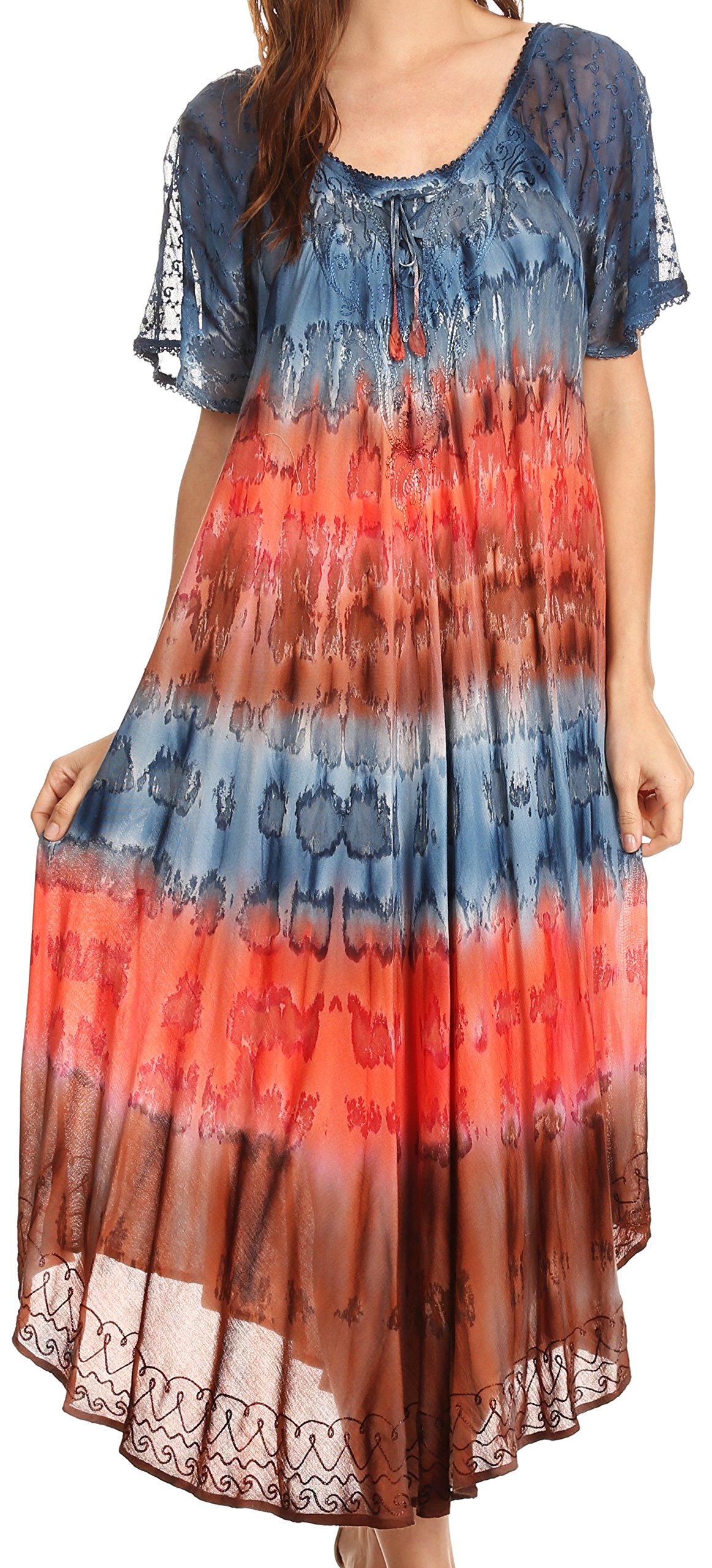 Available at Amazon: Sakkas Sula Tie-Dye Wide Neck Embroidered Boho Sundress Caftan Cover Up
