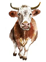Cow art #A026. Cow picture (8x10).Cow print.Cow wall art.Cow painting.Cow nursery wall art.Pictures of cow.Nursery farm animals print.Cow poster.Cow artwork
