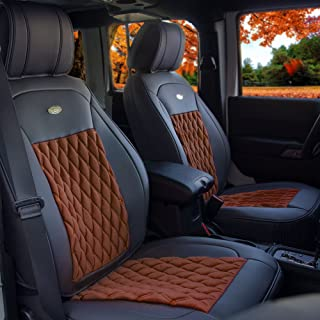 FH Group Brown/Black PU204BROWNBLACK102 Victorian Style Luxurious Leatherette Cushion Pad Seat Covers-Fit Most Car, Truck, SUV, or Van