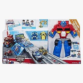 TRANSFORMERS Playskool Heroes Transformers Rescue Bots Flip Racers Optimus Prime Race Track Trailer