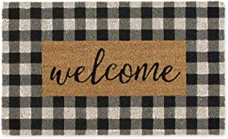 DII CAMZ11552 Home Natural Coir Doormat, Indoor/Outdoor, 18x30, Checkers Welcome