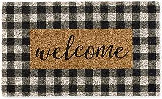DII Indoor/Outdoor Natural Coir Doormat, 18x30x0.5, Checkers Welcome