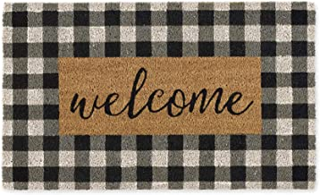 DII Spring/Summer Doormat, 18x30x0.5, Checkers Welcome