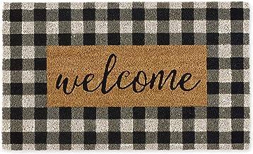 DII CAMZ11552 Home Natural Coir Doormat, Indoor/Outdoor, 18×30, Checkers Welcome