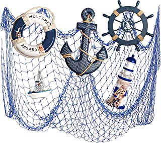 WOODEN NAUTICAL LIGHTHOUSE ANCHOR WALL HANGING ORNAMENT, BEACH WOODEN BOAT SHIP STEERING WHEEL WALL DECOR, NAUTICAL SAILING SHIP TABLE DISPLAY DECOR, Mediterranean Style Fishing Nets