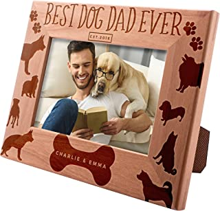 Personalized Picture Frame 4x6, Best Dog Dad Ever Custom Engraved with Names & Year - Dog Father Gift -1