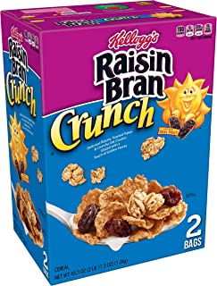 Kellogg's Raisin Bran Crunch, Breakfast Cereal, Original, Good Source of Fiber, 43.3 oz Box