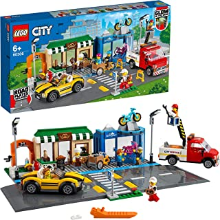 LEGO 60306 City Great Vehicles Shopping Street Building Set with Truck, Bike Shop, Road Plates & Sports Car