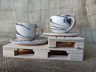 Coppia tazzine espresso + piattino bianco marrone ceramica Nerikomi